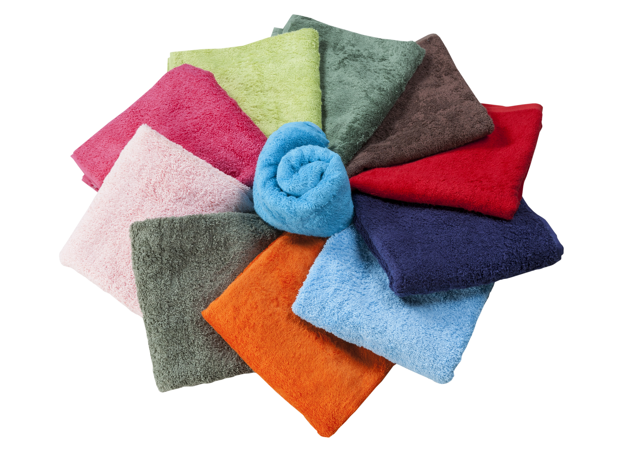 collection of towels in the shape of a flower isolated on white